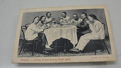 Vintage Shanghai China Chinese Dinner Playing Finger Game Postcard Burr Co.