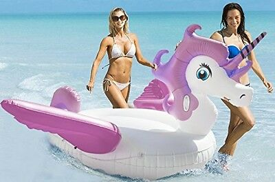 Inflatable Unicorn Summer Toy Outdoor Swimming Pool Float Raft Lounger Purple