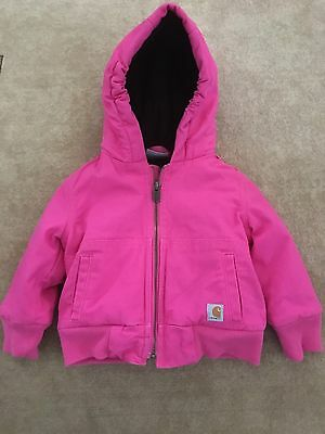 12-month, Girl's Pink Carhartt Winter Jacket/coat, with Hood, Quilted Lining