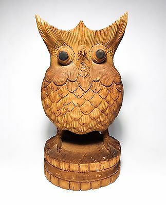 Vintage Balinese Hand-Carved Wooden Horned Owl Sculpture W/bulbous Eyes Mid-Cent