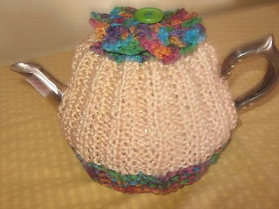 Coffee Beige & Rich Variegated  Hand Knitted Tea Cosy With Rosettes - 2-4 Cup