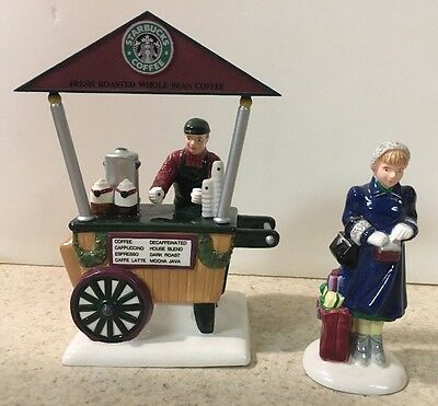 Department 56 Snow Village Starbucks Christmas Holiday Coffee Cart Stand 54870