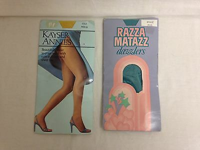 2 x packs vintage pantyhose Mids Kayser Annie's in Gold and Razzamatazz dazzlers