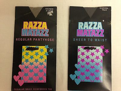 2 x packs Vintage Razzamatazz pantyhose 1 x Tall in Charcoal 1 x X-Large in Grey