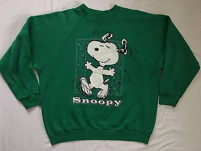 Vintage 80s 90s Snoopy Skipping Green Sweatshirt Men's Small Women's Medium