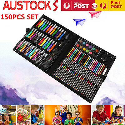 150PC New Kids Art Set Drawing Painting Water Color Pens Crayons Oil Paints Gift