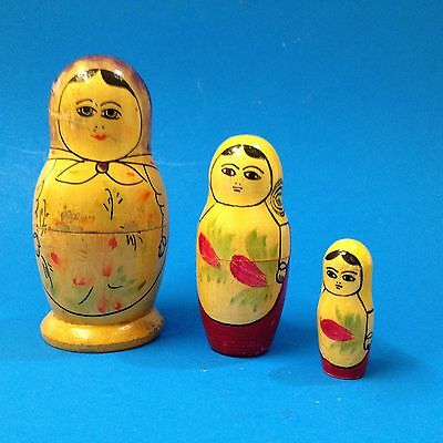 Very Old but Authentic - Nest of 3 Babushka Dolls -A Little Tired A Little Tatty