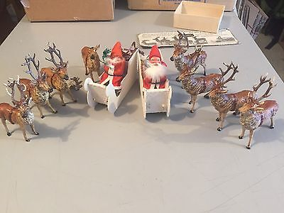 Vintage German Lot of 2 Santa Sleds Lot of 8 Lead Reindeer Set Christmas Austria