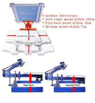 MOVABLE WORK TABLE Manual Screen Printer for flat object: T-shirt, bag, pillow