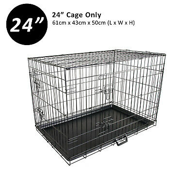 "24"" Medium Collapsible 2 Door Metal Wire Dog Crate Cage With Tray Pet Puppy"