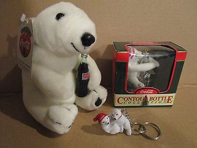 1993 Coca-Cola Brand Plush Collection Polar Bear Tags + Key Chain + Ornament Lot