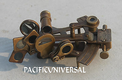 "Brown Antique Solid Brass Sextant 4"" Ship Navigation Vintage Marine Replica Gift"