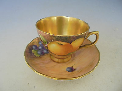 Leighton Maybury Worcester Artist Cup and Saucer Hand Painted with Fruit