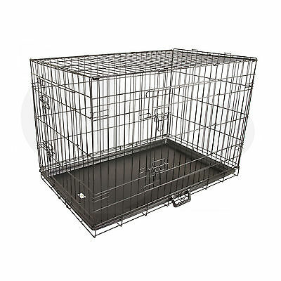 "36"" Large Collapsible 2 Door Metal Wire Dog Crate Cage With Tray Pet Puppy"
