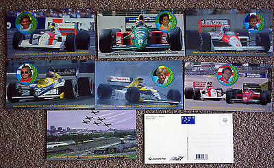 Adelaide Grand Prix F1 7 Post Cards Prost Piquet Senna Boutsen Rosberg Berger  F