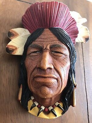 Vintage Wall Plaque - BOSSONS England - Tecumseh Indian Chief - 1966 - Signed