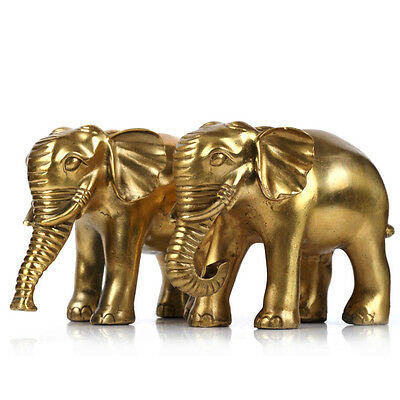 China Bronze Fengshui Lucky Elephant Statue A pair