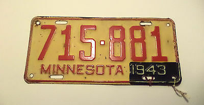 Vintage 1942 43 WWII ERA MINNESOTA License Plate Tag #715-881 Expired With TAG