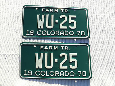 1970 COLORADO FARM TR. License Plate matched Pair Tag # WU-25 Low Number