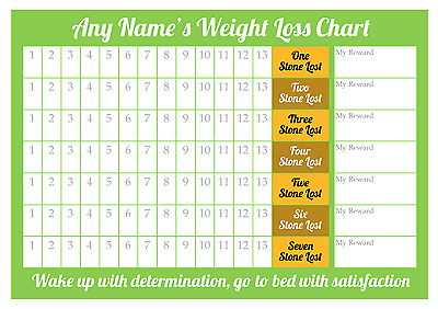 Personalised Weight Loss Chart - 7 stone - Laminated with 1 x star stickers