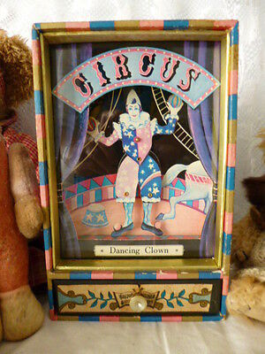Vintage retro music box Dancing Clown circus toy jewellery trinkets wood