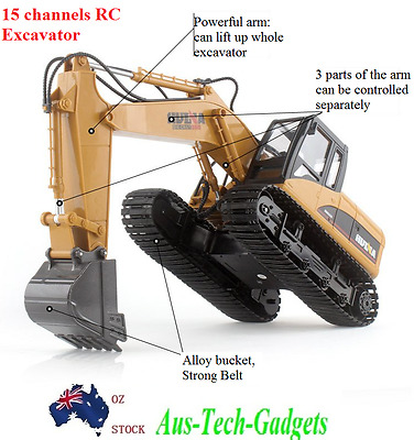 Huina 15 Channel 2.4G Full-Function Remote Control RC Excavator 1:12