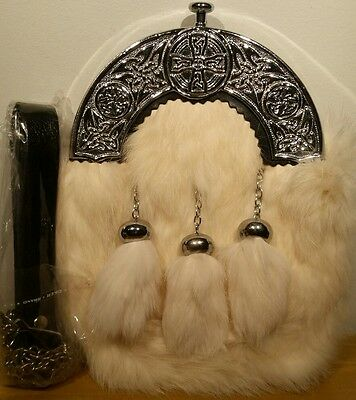 Sporran With white Rabbit Fur brand new (Free Belt Included)
