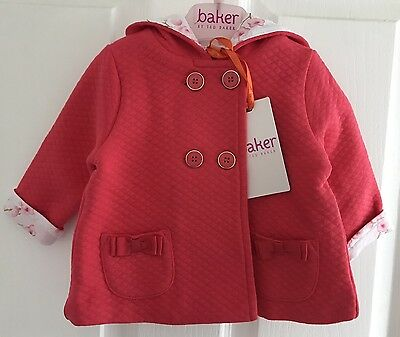 Ted Baker Baby Girls Pink Hooded Coat With Ears, 3-6 Months.