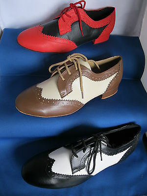 Mens White/Black or Red/Black Jive, Ballroom, Latin, Salsa Dance Shoes  -  7 -12