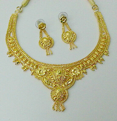 Indian Design Bridal Saree Sari Gown Jewelry 22KGoldplated Necklace Earring #186