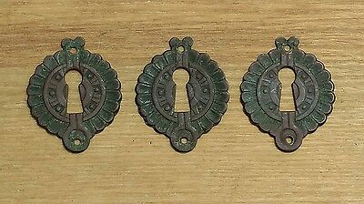 Lot of 3 Victorian Eastlake Brass Escutcheons Skeleton Key Chest, Trunk, Drawer