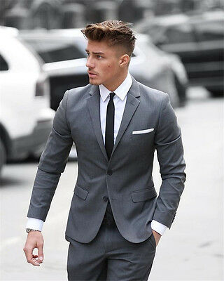Light Grey Men Wedding Suits Two Piece Groom Tuxedos Party Formal Evening Blazer