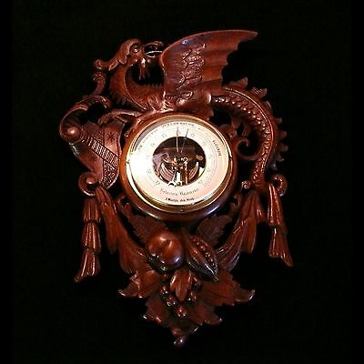 Antique Black Forest Carved Wall Barometer/Weather Station in Solid Walnut 1800