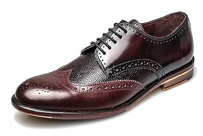 London Brogues Lincoln Herren Leder Derby Spitze Brogue Halbschuhe Bordeaux