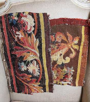 17th Century French Aubusson Verdure Tapestry Fragment Flowers TWO Pieces