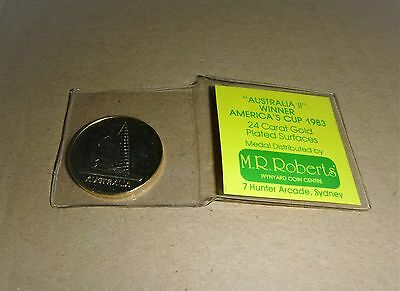 Rare Australia Ii Winner America's Cup 1983 - 24Ct Gold Plated Medal / Coin