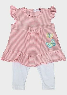 Girls Pink Butterfly Bow Stripe Top & Leggings Outfit Set Age 2/3 Years New