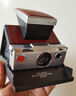 Rare Polaroid SX-70 alpha  - Chrome face black body TESTED & WORKING