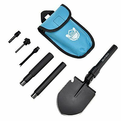 Military Survival Folding Shovel With Carrying Pouch For Camping Hiking Fishing
