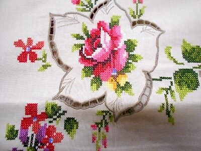 Vintage embroidered TABLECLOTH new large 215x175cm roses cross stitch 12 napkins