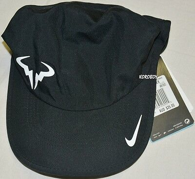 BNWT - Nike Rafa Nadal Bull 2.0 Tennis Cap Feather Light Cap - Black Nike Cap
