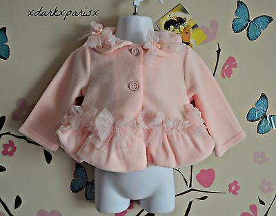 NEW NWT Baby Girl  Biscotti  Pink Fleece Jacket Coat with Tulle Bows SZ12 MONTHS