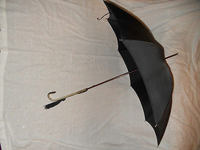 Vtge Ladies Black Brinylon Paragon Fox Umbrella Bakelite Handle 50% off