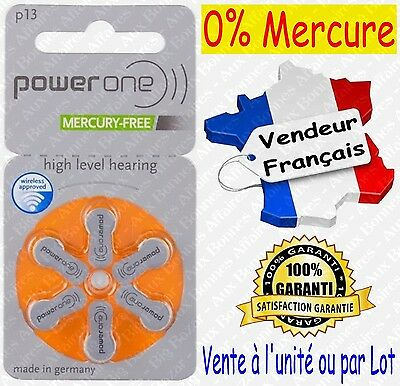 Piles Auditives 0% Mercure 1,45V Power One VARTA P13 PR48 A13 ( code ORANGE )