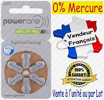 Piles Auditives 0% Mercure 1,45V Power One VARTA P312 PR312 A312 ( code MARRON )