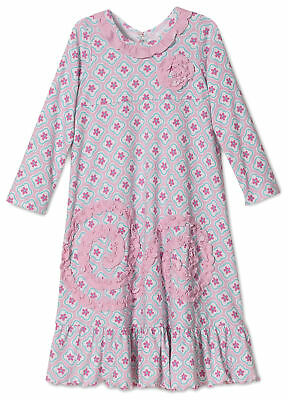 Sara's Prints Girls Quatrefoil Long Sleeve Ruffle Nightgown, Pink, Sizes 3T-12