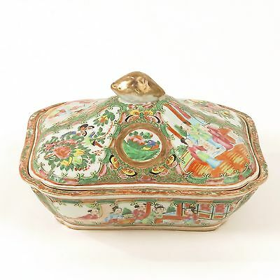 Antique Rose Medallion covered dish 19th c Chinese famille mandarin serving lid