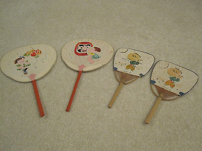Vintage RARE Okinawa Japan paper fans set of 4   used