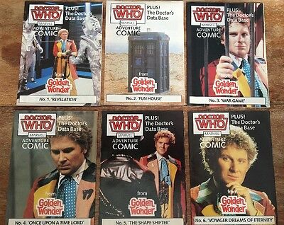 DOCTOR WHO GOLDEN WONDER MARVEL ADVENTURE COMICS SET OF 6 Sealed 1986