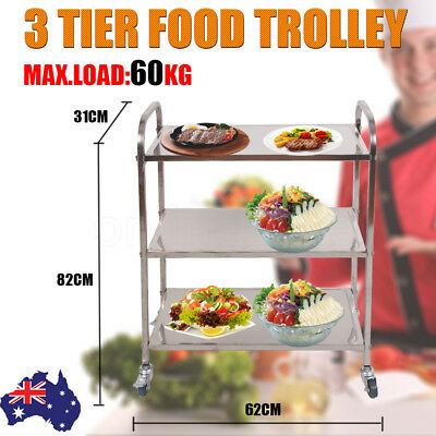 New 3 Tier Food Trolley Stainless Steel Kitchen Dining Serving Lockable Wheels
